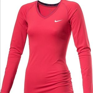 NIKE l PRO DRI-FIT Long Sleeve Red Training Top XL